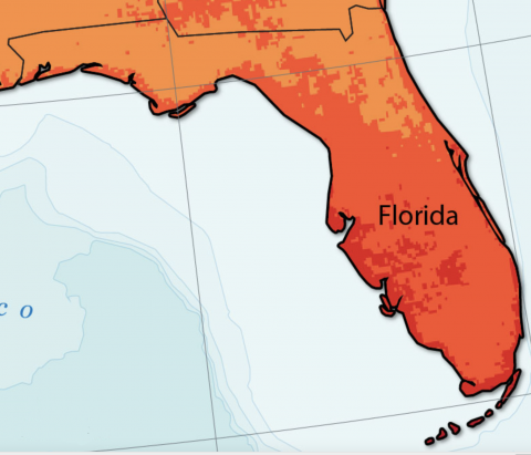 Annual average daily solar energy resources in Florida. Lighter shades indicate less solar energy available, darker shades indicate more. Map courtesy of the National Renewable Energy Laboratory.